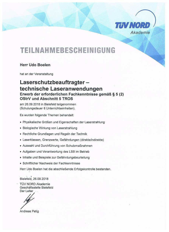 Zertifikat Laserschutzbeauftragter