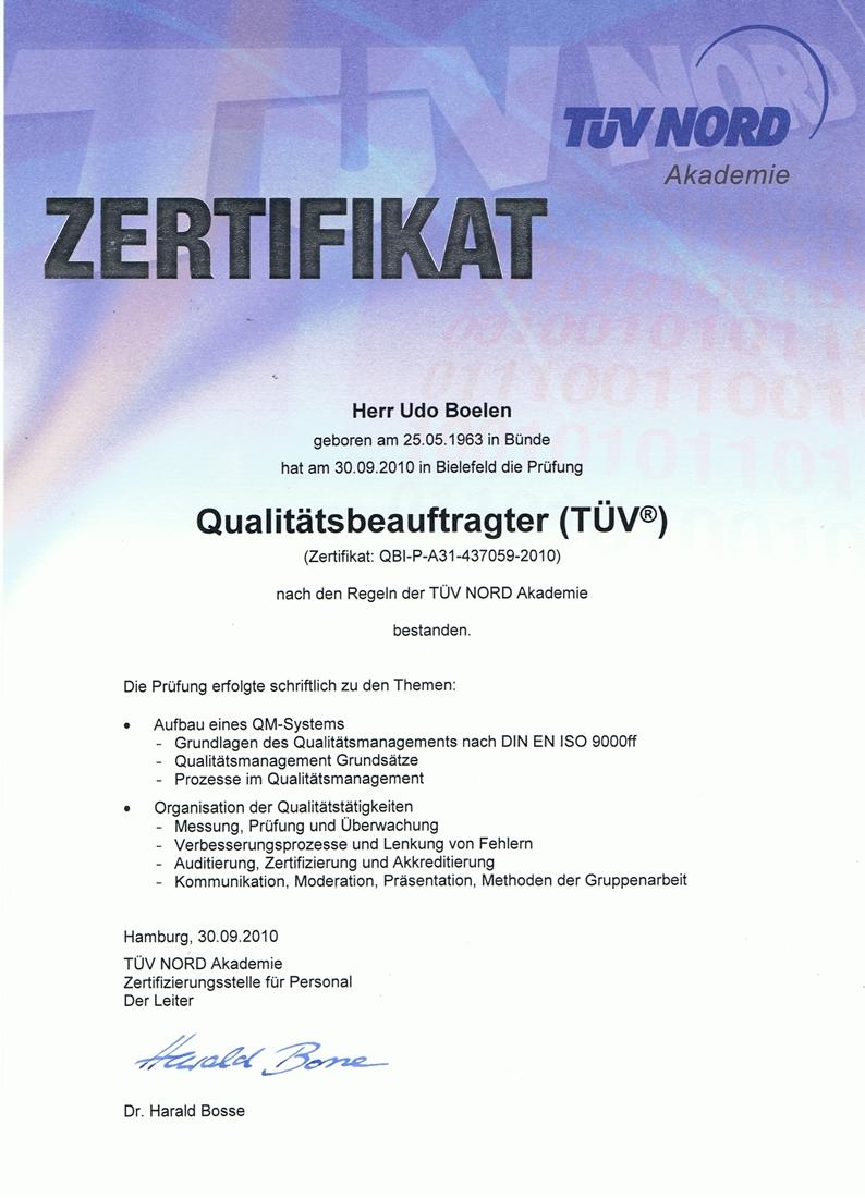 Zertifikat TÜV - QMB